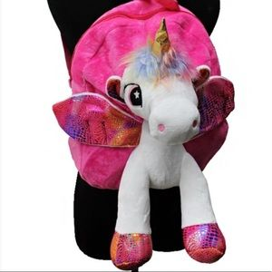 Winged Hologram unicorn backpack w/multicolor fur